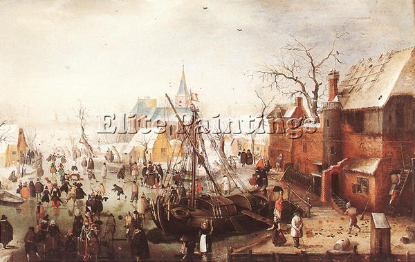 HENDRICK AVERCAMP WINTER SCENE AT YSELMUIDEN ARTIST PAINTING HANDMADE OIL CANVAS