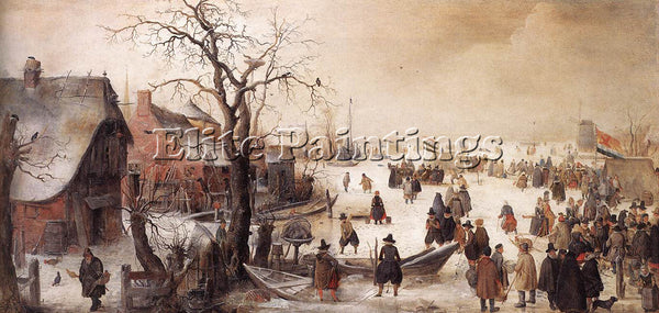 HENDRICK AVERCAMP WINTER SCENE ON A CANAL ARTIST PAINTING REPRODUCTION HANDMADE