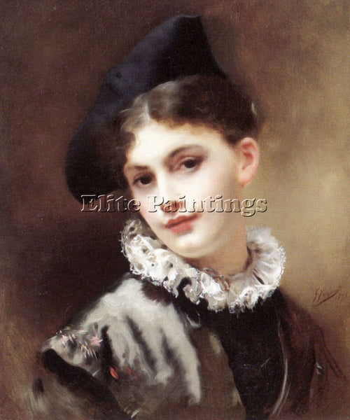 GUSTAVE JEAN JACQUET A COQUETTISH SMILE ARTIST PAINTING REPRODUCTION HANDMADE