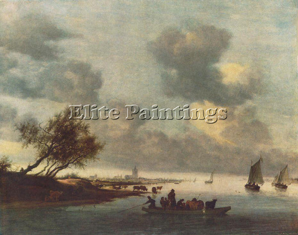 SALOMON VAN RUYSDAEL A FERRY BOAT NEAR ARNHEIM ARTIST PAINTING REPRODUCTION OIL