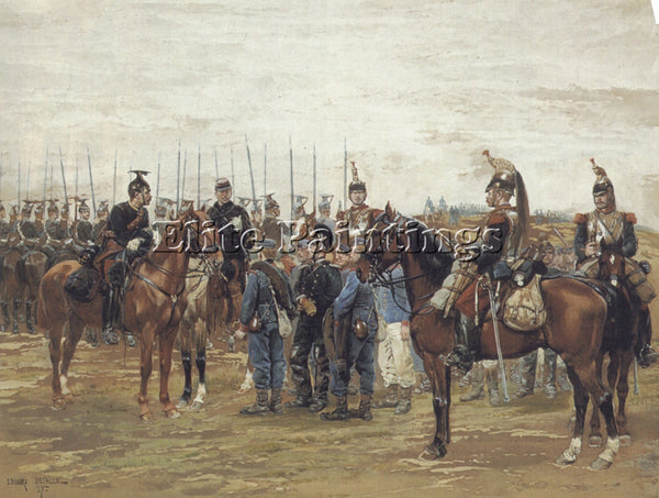 EDOUARD DETAILLE A FRENCH CAVALRY OFFICER GUARDING CAPTURED BAVARIAN SOLDIERS