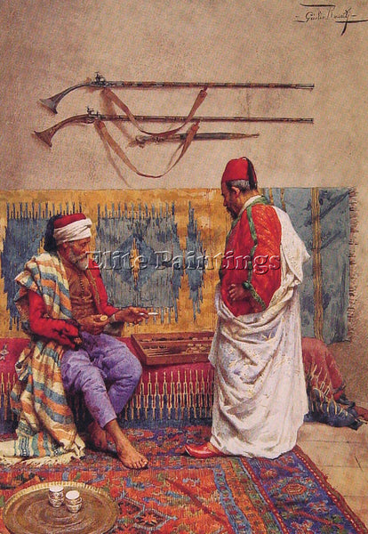 GIULIO ROSATI A GAME OF BACKGAMMON ARTIST PAINTING REPRODUCTION HANDMADE OIL ART