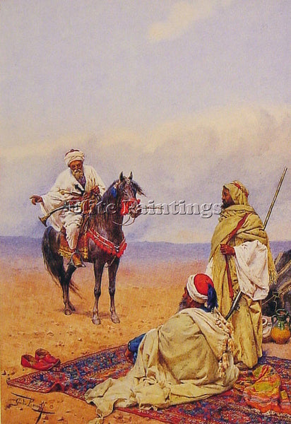GIULIO ROSATI A HORSEMAN STOPPING AT A BEDOUIN CAMP ARTIST PAINTING REPRODUCTION