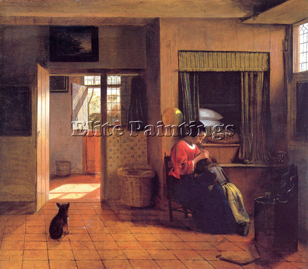 PIETER DE HOOCH A MOTHER AND CHILD WITH ITS HEAD IN HER LAP ARTIST PAINTING OIL