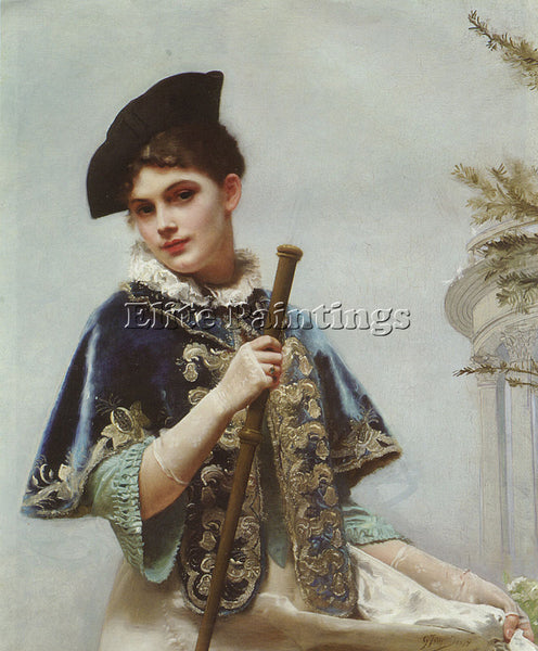 GUSTAVE JEAN JACQUET A PORTRAIT OF A NOBLE LADY ARTIST PAINTING REPRODUCTION OIL