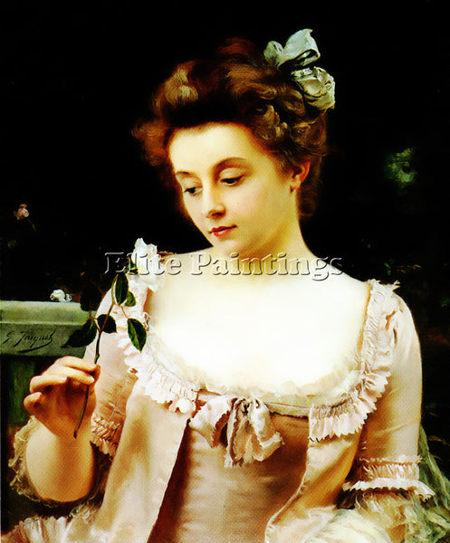 GUSTAVE JEAN JACQUET A RARE BEAUTY ARTIST PAINTING REPRODUCTION HANDMADE OIL ART