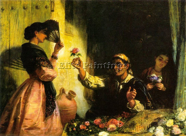 EDWIN LONGSDEN LONG A SPANISH FLOWER SELLER ARTIST PAINTING HANDMADE OIL CANVAS