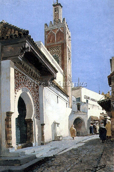 MANUEL GARCIA Y RODRIGUEZ A STREET SCENE WITH A MOSQUE TANGIER PAINTING HANDMADE