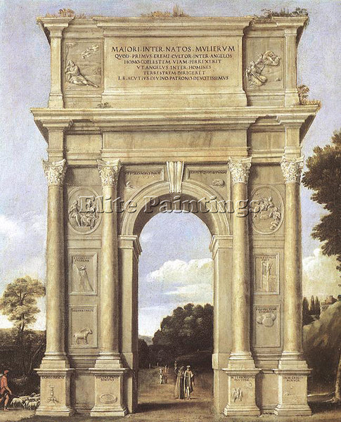 DOMENICHINO A TRIUMPHAL ARCH OF ALLEGORIES ARTIST PAINTING REPRODUCTION HANDMADE