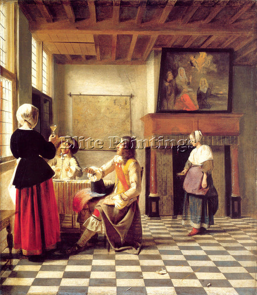 PIETER DE HOOCH A WOMAN DRINKING WITH TWO MEN AND A SERVING WOMAN ARTIST CANVAS