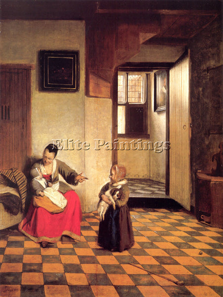 PIETER DE HOOCH A WOMAN WITH A BABY IN HER LAP AND A SMALL CHILD ARTIST PAINTING