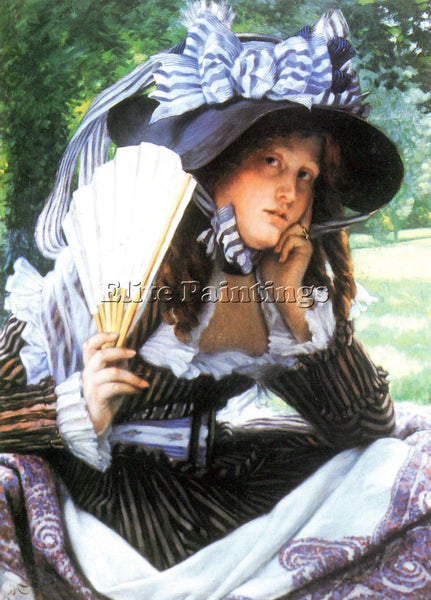 TISSOT A YOUNG WOMAN WITH A FAN ARTIST PAINTING REPRODUCTION HANDMADE OIL CANVAS
