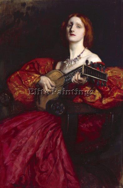EDWIN AUSTIN ABBEY  A LUTE PLAYER ARTIST PAINTING REPRODUCTION HANDMADE OIL DECO