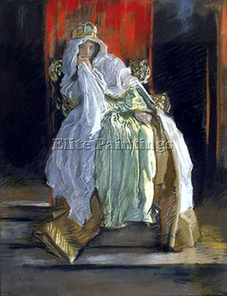 EDWIN AUSTIN ABBEY  THE QUEEN IN HAMLET ARTIST PAINTING REPRODUCTION HANDMADE