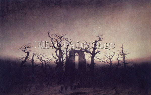 CASPAR DAVID FRIEDRICH ABBEY IN AN OAK FOREST ARTIST PAINTING REPRODUCTION OIL