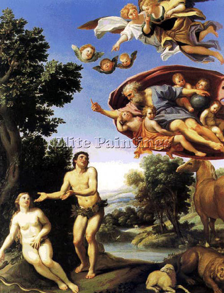 DOMENICHINO ADAM AND EVE ARTIST PAINTING REPRODUCTION HANDMADE CANVAS REPRO WALL