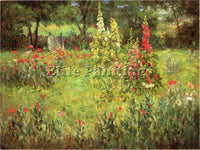 AMERICAN ADAMS JOHN OTTIS HOLLYHOCKS AND POPPIES THE HERMITAGE PAINTING HANDMADE - Oil Paintings Gallery Repro