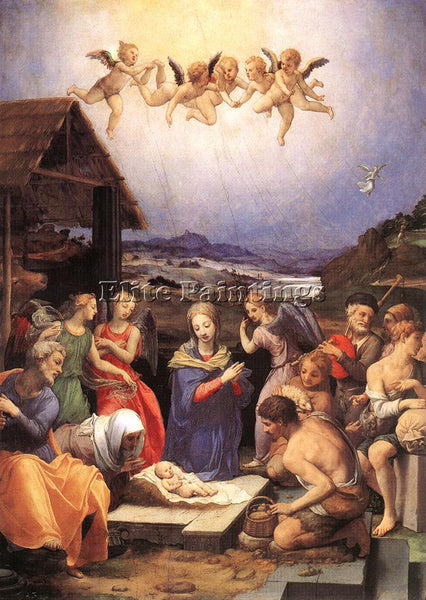 AGNOLO BRONZINO ADORATION OF SHEPHERDS ARTIST PAINTING REPRODUCTION HANDMADE OIL