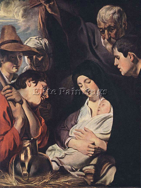 JACOB JORDAENS ADORATION OF THE SHEPHERDS ARTIST PAINTING REPRODUCTION HANDMADE