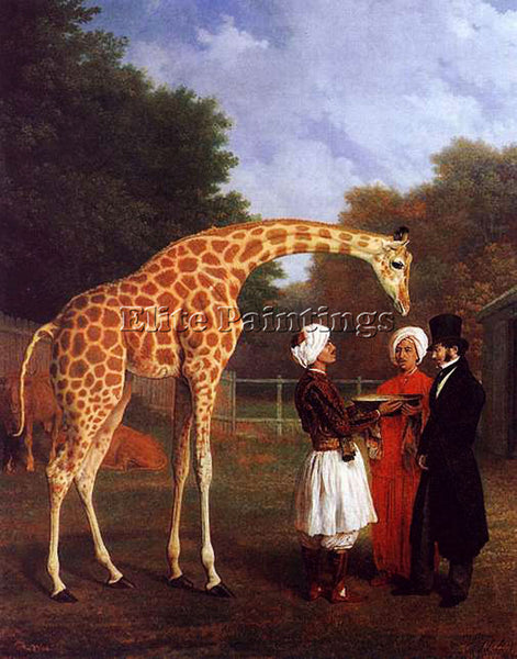 SWISS AGASSE JACQUES LAURENT THE NUBIAN GIRAFFE ARTIST PAINTING REPRODUCTION OIL