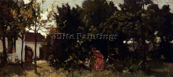 AMERICAN AKKERINGA JOHANNES EVERT A MOTHER AND CHILD PICKING FLOWERS OIL CANVAS