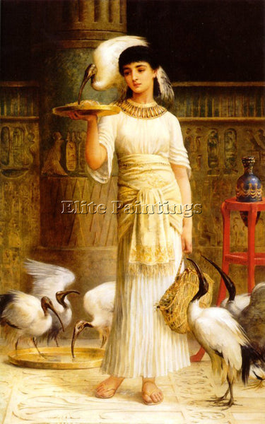 EDWIN LONGSDEN LONG ALETHE ATTENDANT SACRED IBIS IN TEMPLE OF ISIS AT ARTIST OIL