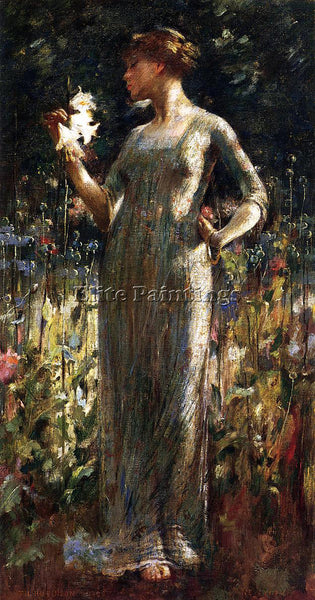 JOHN WHITE ALEXANDER A KING S DAUGHTER AKA GIRL WITH LILIES ARTIST PAINTING OIL