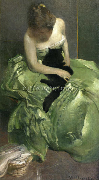 JOHN WHITE ALEXANDER THE GREEN DRESS ARTIST PAINTING REPRODUCTION HANDMADE OIL