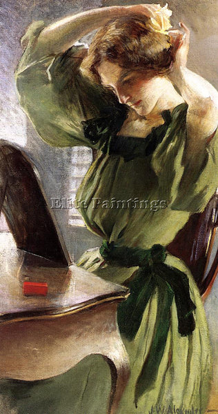 JOHN WHITE ALEXANDER YOUNG WOMAN ARRANGING HER HAIR ARTIST PAINTING REPRODUCTION