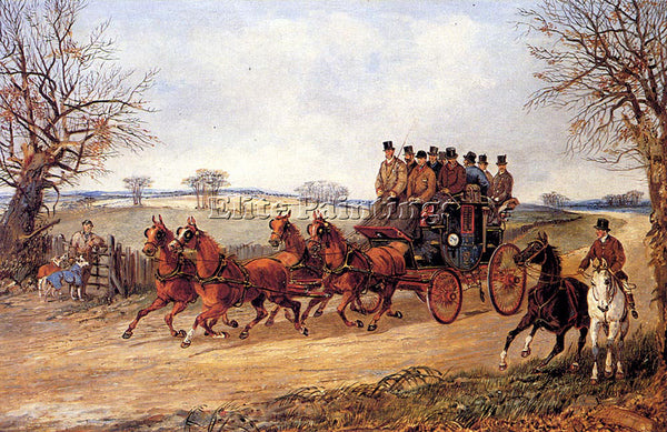 BRITISH ALKEN HENRY A COACH AND FOUR ON AN AUTUMN ROAD ARTIST PAINTING HANDMADE