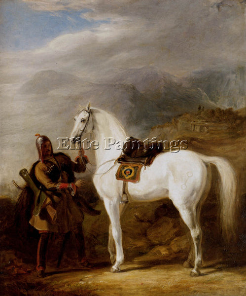 SCOTTISH ALLAN SIR WILLIAM A CIRCASSIAN CHIEF PREPARING HIS STALLION OIL CANVAS