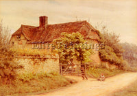 BRITISH ALLINGHAM HELEN A BERKSHIRE COTTAGE ARTIST PAINTING HANDMADE OIL CANVAS