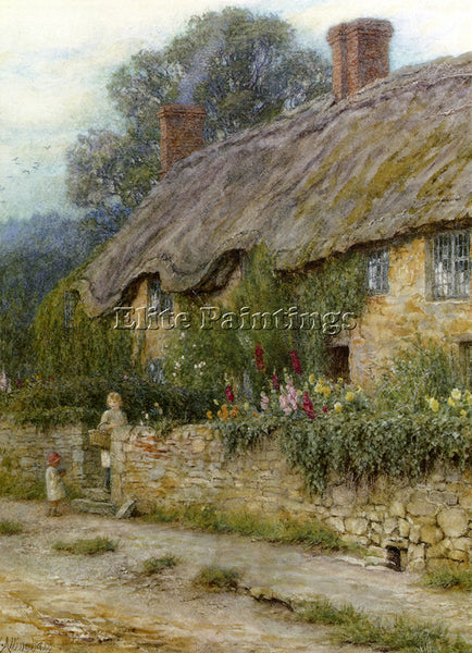 BRITISH ALLINGHAM HELEN A MOTHER AND CHILD ENTERING A COTTAGE PAINTING HANDMADE