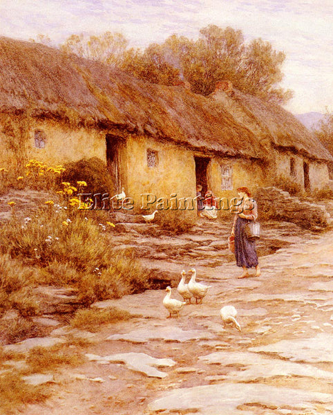 BRITISH ALLINGHAM HELEN IRISH COTTAGE ARTIST PAINTING REPRODUCTION HANDMADE OIL