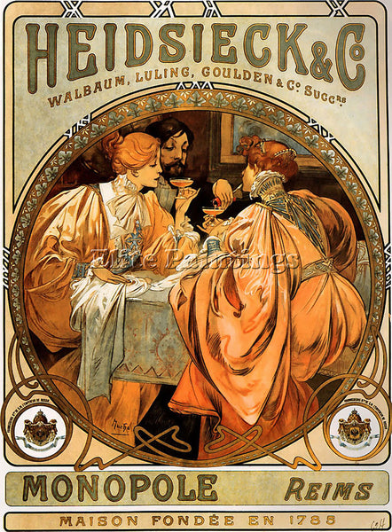 ALPHONSE MARIA MUCHA HEIDSIECK AND CO 1901  ARTIST PAINTING HANDMADE OIL CANVAS