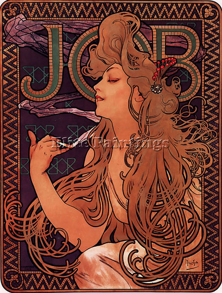 ALPHONSE MARIA MUCHA JOB 1896  ARTIST PAINTING REPRODUCTION HANDMADE OIL CANVAS