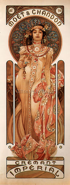 ALPHONSE MARIA MUCHA MOET AND CHANDON CREMANT IMPERIAL 1899  ARTIST PAINTING OIL