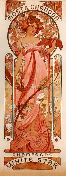 ALPHONSE MARIA MUCHA MOET AND CHANDON WHITE STAR 1899  ARTIST PAINTING HANDMADE