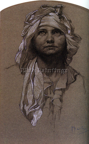 ALPHONSE MARIA MUCHA HEAD OF A GIRL ARTIST PAINTING REPRODUCTION HANDMADE OIL