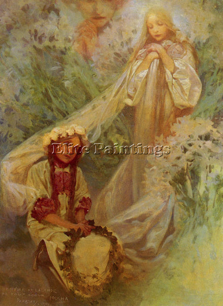 ALPHONSE MARIA MUCHA MARIA MADONNA OF THE LILIES ARTIST PAINTING HANDMADE CANVAS