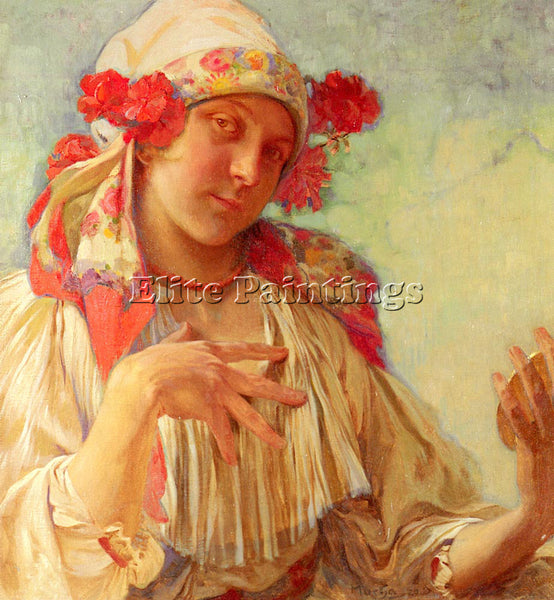 ALPHONSE MARIA MUCHA MARIA YOUNG GIRL IN A MORAVIAN COSTUME ARTIST PAINTING OIL
