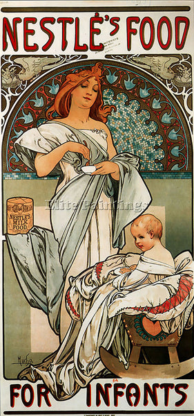 ALPHONSE MARIA MUCHA NESTLES FOOD FOR INFANTS 1897  ARTIST PAINTING REPRODUCTION