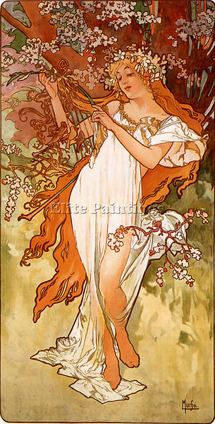 ALPHONSE MARIA MUCHA SPRING 1896 PANEL ARTIST PAINTING REPRODUCTION HANDMADE OIL