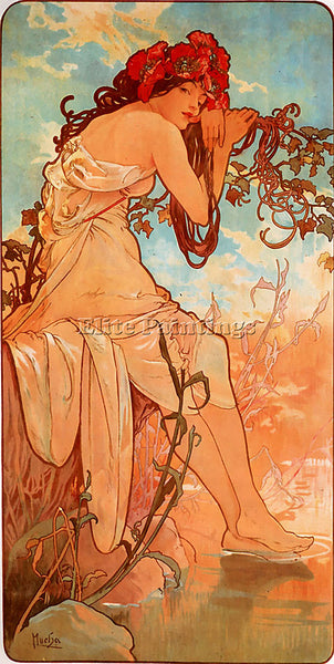 ALPHONSE MARIA MUCHA SUMMER 1896 PANEL ARTIST PAINTING REPRODUCTION HANDMADE OIL