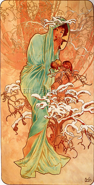 ALPHONSE MARIA MUCHA WINTER 1896 PANEL ARTIST PAINTING REPRODUCTION HANDMADE OIL