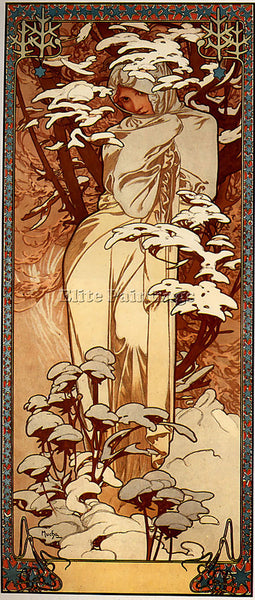 ALPHONSE MARIA MUCHA WINTER 1897  ARTIST PAINTING REPRODUCTION HANDMADE OIL DECO