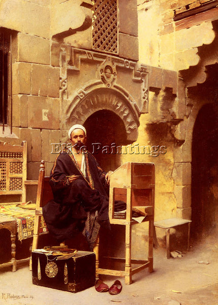 AUSTRIAN AMBROS RAPHAEL VON AN EGYPTIAN SCRIBE ARTIST PAINTING REPRODUCTION OIL