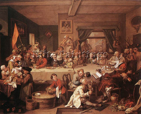 WILLIAM HOGARTH AN ELECTION ENTERTAINMENT ARTIST PAINTING REPRODUCTION HANDMADE
