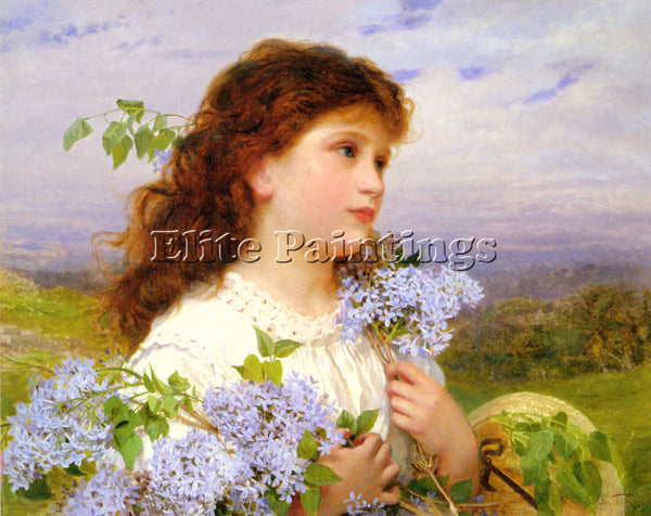 SOPHIE GENGEMBRE ANDERSON THE TIME OF THE LILACS ARTIST PAINTING HANDMADE CANVAS
