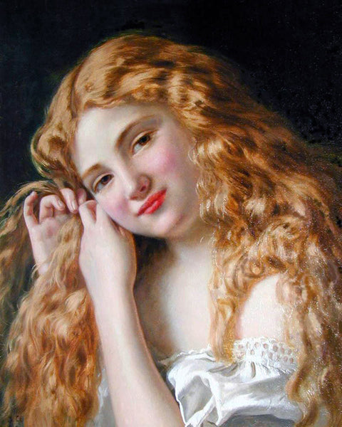 SOPHIE GENGEMBRE ANDERSON YOUNG GIRL FIXING HER HAIR ARTIST PAINTING HANDMADE